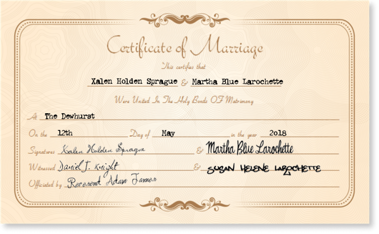 xalen marty marriage certifiate